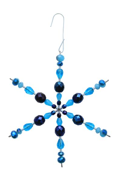 Beaded Turquoise & Midnight Blue Glass Snowflake Ornament