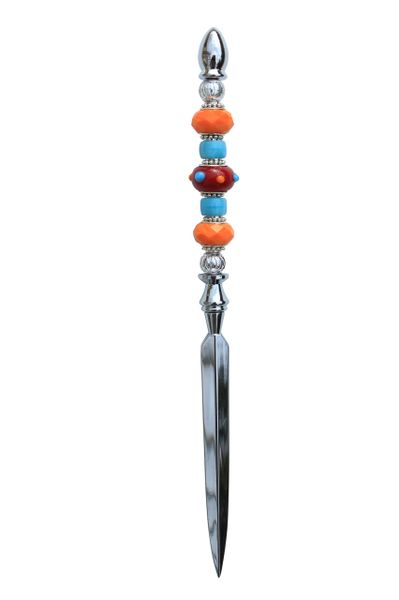 Beaded Turquoise, Red & Orange Lampworked Glass Letter Opener