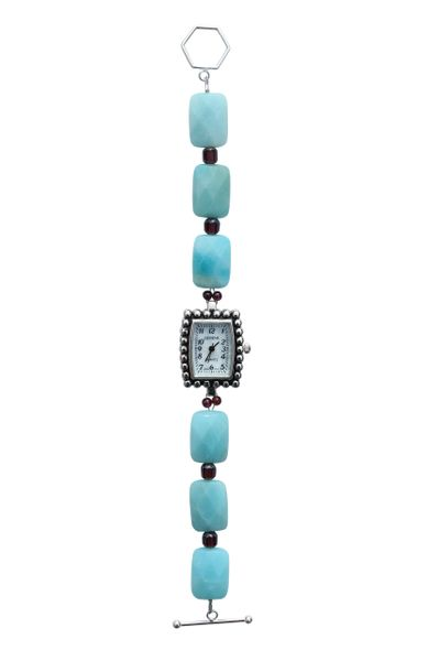 Amazonite, Garnet & Czech Glass Watch