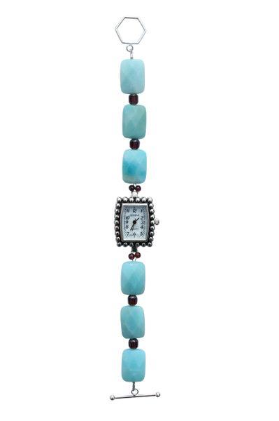 Amazonite, Garnet & Czech Glass Watch