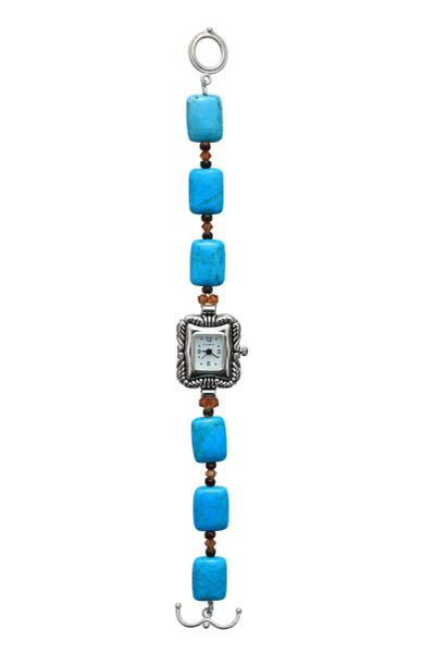 Nevada Pilot Mountain Blue Turquoise & Swarovski Crystal Watch