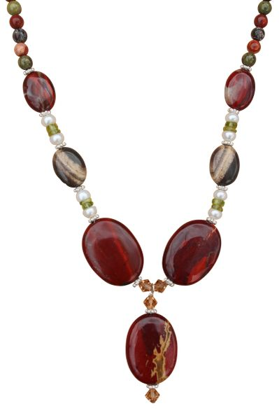 Red Jasper, Pearl & Peridot Necklace