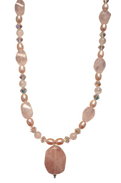 Rose Quartz, Freshwater Pearl and Swarovski Crystal Necklace