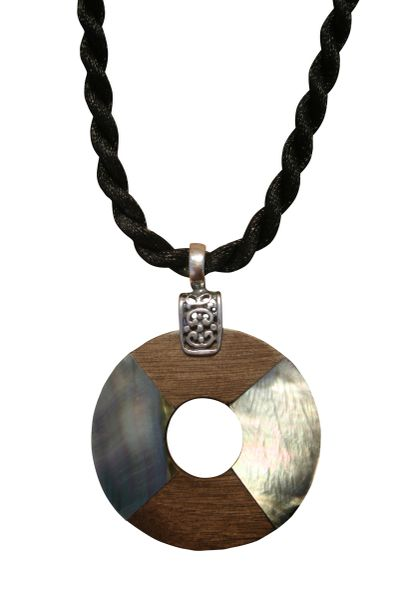 Black Shell and Grey Wood Donut Necklace