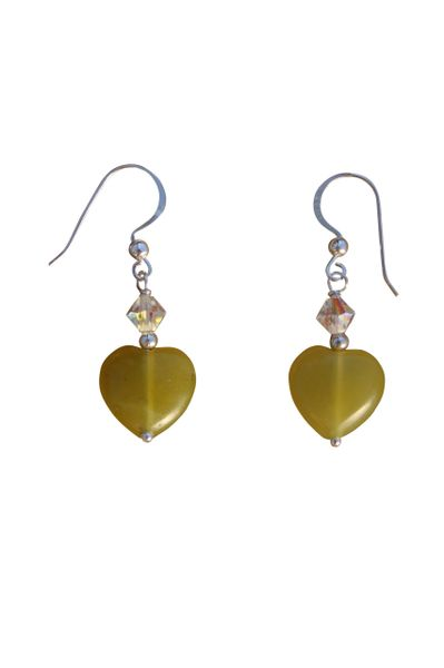 Olive Jade & Swarovski Crystal Heart Earrings