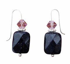 Blue Goldstone & Swarovski Crystal Earrings