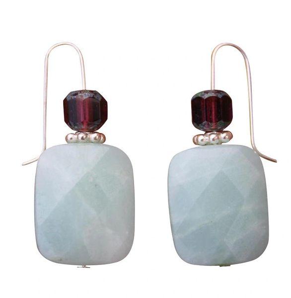 Amazonite & Czech Glass Earrings