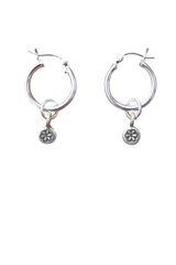 Sterling Silver Hill Tribe Flower Stamped Hoop Earrings