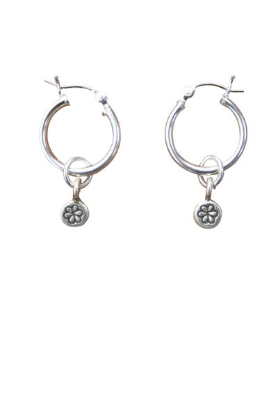 Sterling Silver Hill Tribe Flower Stamped Hoop Earrings