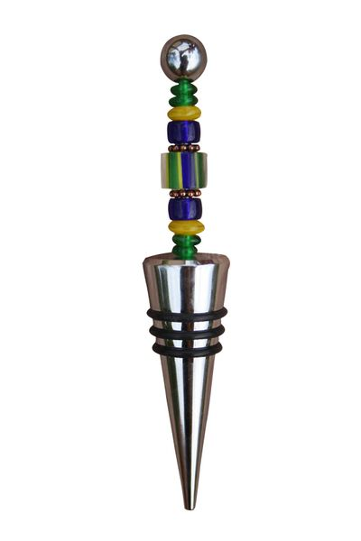 Beaded Cobalt Blue Cane Glass Wine Bottle Stopper