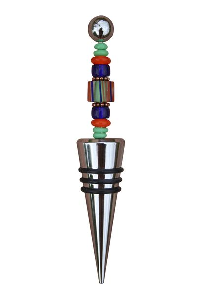 Beaded Orange Cane Glass Wine Bottle Stopper