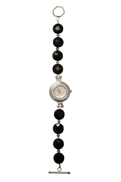 Black Onyx & Swarovski Crystal Watch