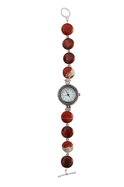 Red Jasper & Swarovski Crystal Watch