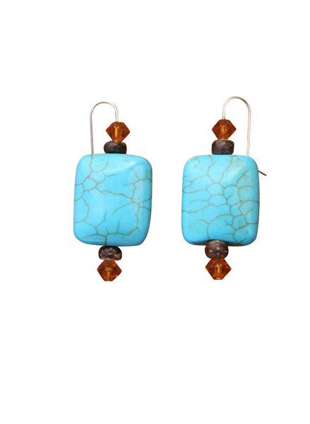 Nevada Pilot Mountain Blue Turquoise & Swarovski Crystal Earrings