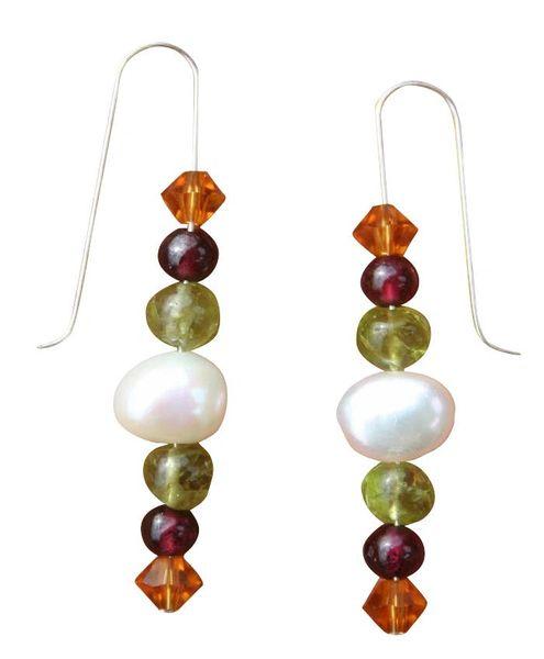 Fresh Water Pearl and Gemstone Medley Earrings