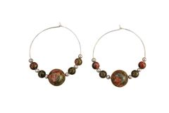 Unakite & Sterling Silver Hoop Earrings