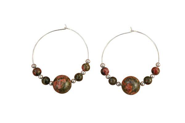 Unakite & Sterling Silver Hoop Earrings