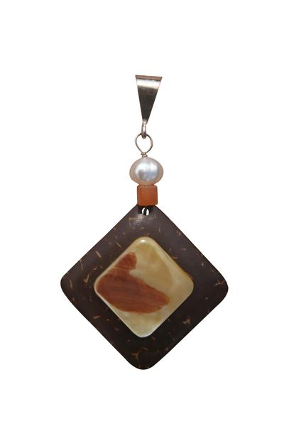 Sterling Silver, Coconut & Mother of Pearl Pendant