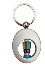 Beaded Purple & Turquoise Cane Glass Key Ring