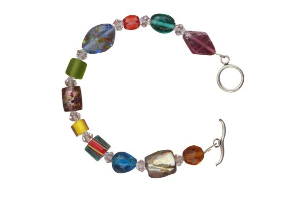 Whimsical Art Glass & Swarovski Crystal Bracelet