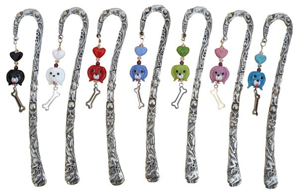 Pewter Beaded Dog Bookmark