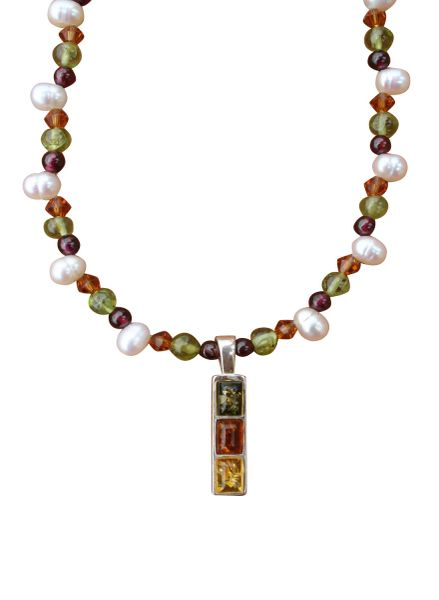 Baltic Amber, Fresh Water Pearl & Gemstone Medley Necklace