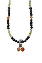 Baltic Amber, Onyx, & Peridot Necklace