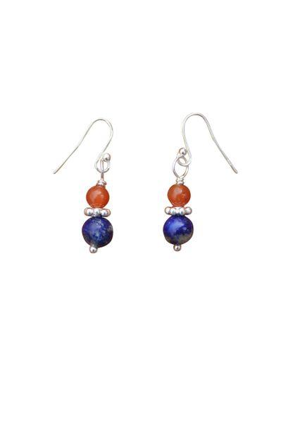 Lapis & Red Aventurine Earrings