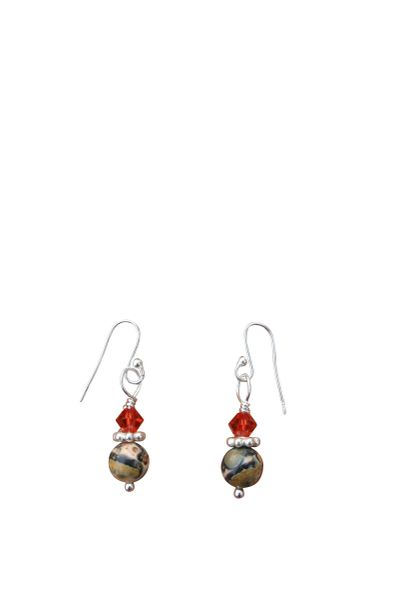 Leopard Jasper & Swarovski Crystal Earrings