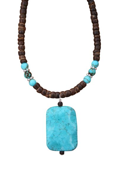 Nevada Pilot Mountain Blue Turquoise & Coconut Shell Necklace