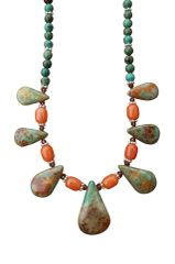 Nevada Pilot Mountain Green Turquoise & Red Aventurine Necklace