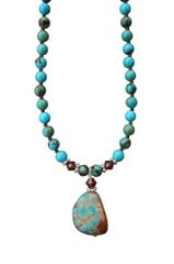 Nevada Pilot Mountain Tricolor Turquoise Nugget Necklace