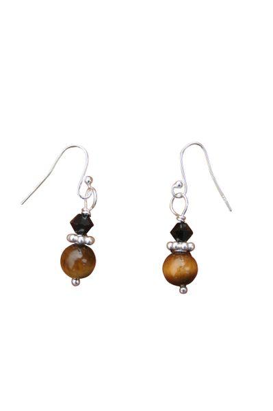 Tiger Eye & Swarovski Crystal Earrings