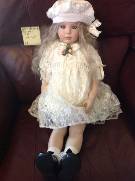 """HandCrafted Porcelain Doll with Custom Outfit 24"""" Tall"""