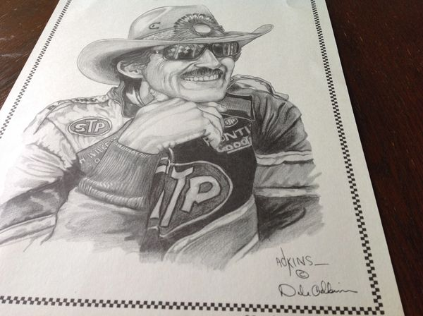"Dale Adkins Drawing of Richard Petty 11"" x 14"""