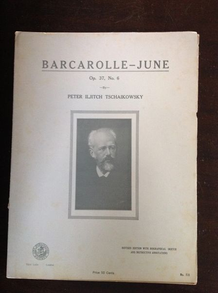 Vintage Sheet Music Barcarolle-June