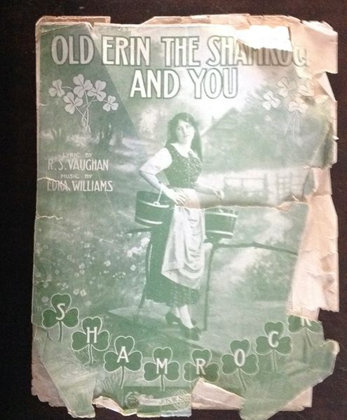 Vintage Sheet Music Old Erin The Shamrock