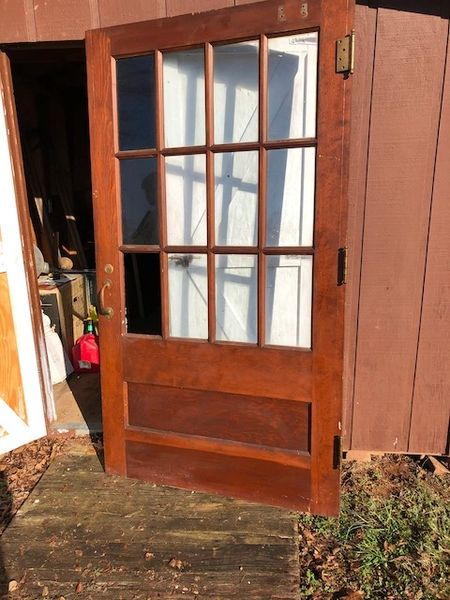 "Antique Door with 12-Pane Window 46"" x 84"""