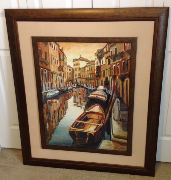 """Framed Painting Boat In City 