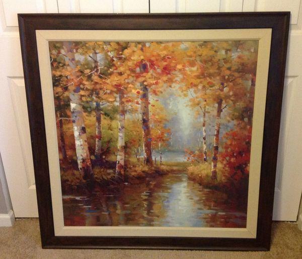 """Framed Art-Fall Scene 43"""" x 43"""""""