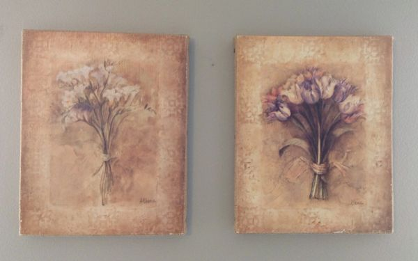 Flowers Painting On Burlap By Athena