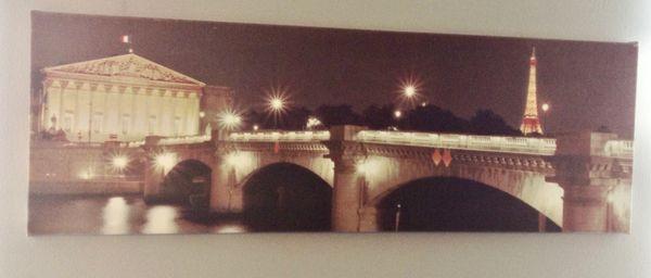 "Eiffel Tower And Bridge Scene | 30"" x 10"""