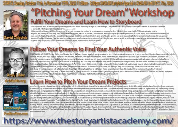"""Pitching Your Dream"" Workshop Sundays, Oct. 11,- Nov. 15, 2020 11:00AM - 2:00PM"