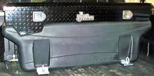 Titan Fuel Tanks Compact Locking, Black Diamond Plate Aluminum, Toolbox 1999-2017 F250-450