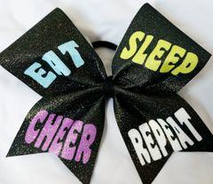 EAT SLEEP CHEER REPEAT Cheer Bow