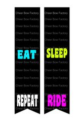 Eat Sleep Ride Repeat Equestrian Cheer Bow Ready to Press Sublimation Graphic
