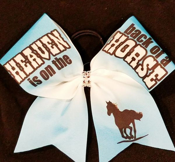 Heaven is on the Back of a Horse Equestrian Ribbon Bow