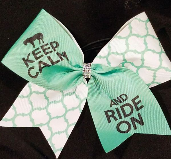 Keep Calm and Ride On Equestrian Ribbon Bow