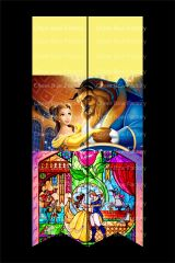 Beauty and The Beast Stained Glass Cheer Bow Ready to Press Sublimation Graphic