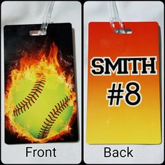Custom Flaming Softball Personalized Bag Tag